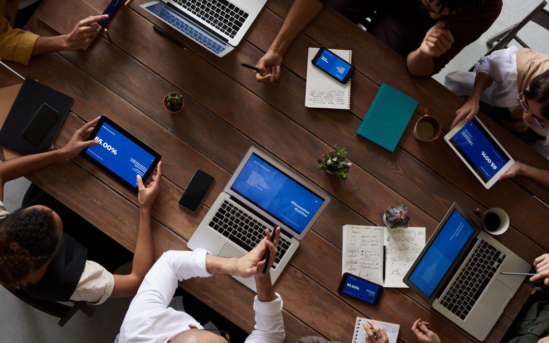 computer office staff meeting